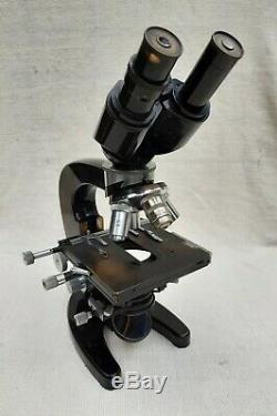 Carl Zeiss Binocular Microscope with 6 Objectives & Wooden Case Excellent