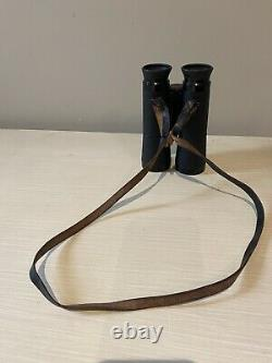 Carl Zeiss Vintage Dialyt 10x40 B Binoculars With Leather Neck Strap Attached