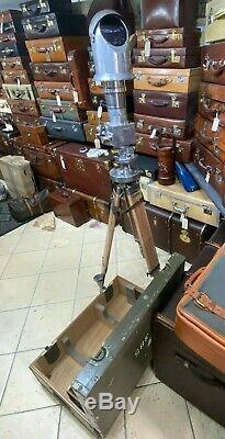 Vintage Stripped And Polished Carl Zeiss 10 X 50 Periscope Binoculars On Tripod